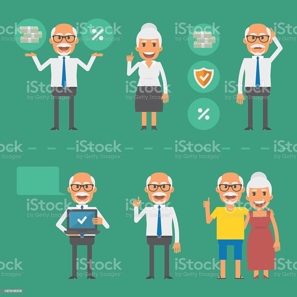 Older people pension fund concept vector art illustration