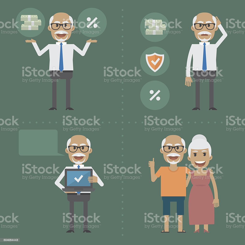 Older people, pension fund concept vector art illustration