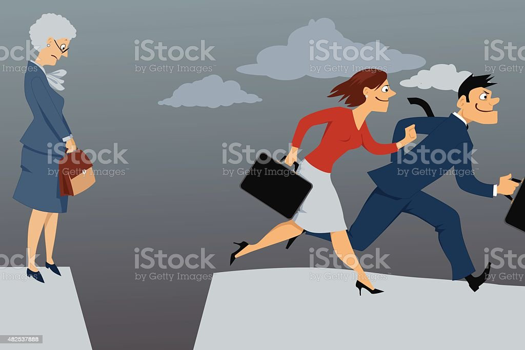 Older woman and job competition vector art illustration