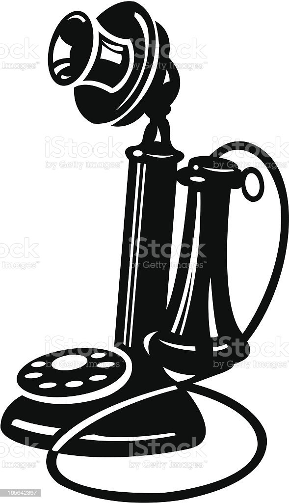 Old-Fashion Candle Stick Telephone Telecommunication Phone royalty-free stock vector art