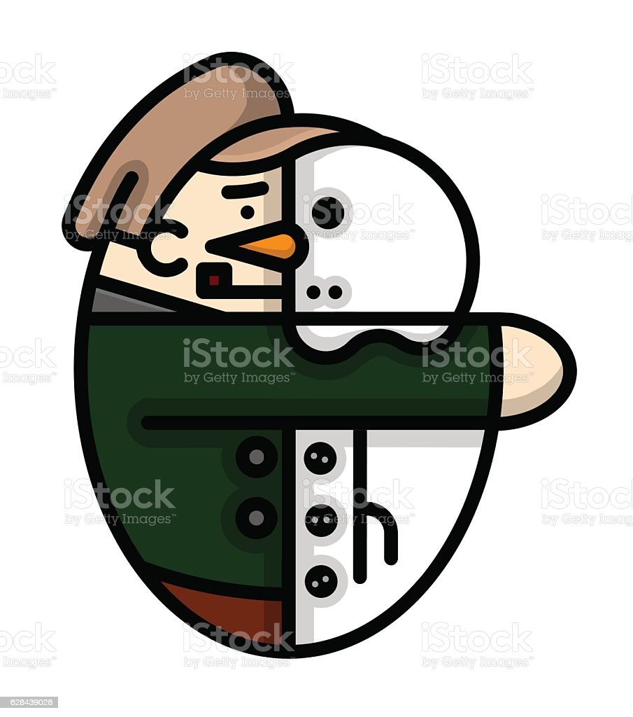 Old-Fashioned Child Making a Snowman wearing a Flat Cap vector art illustration