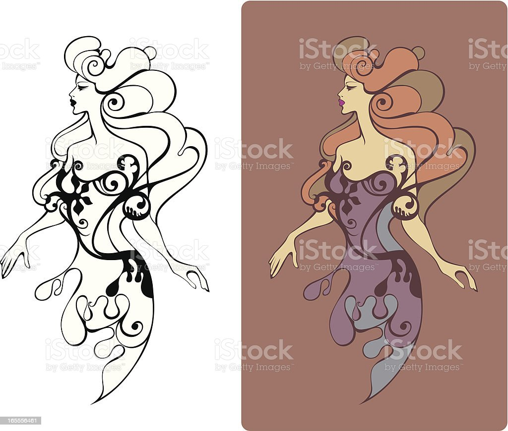 Old-fashioned lady. royalty-free stock vector art