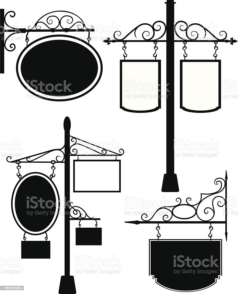 Old-fashioned wood and iron signs vector art illustration