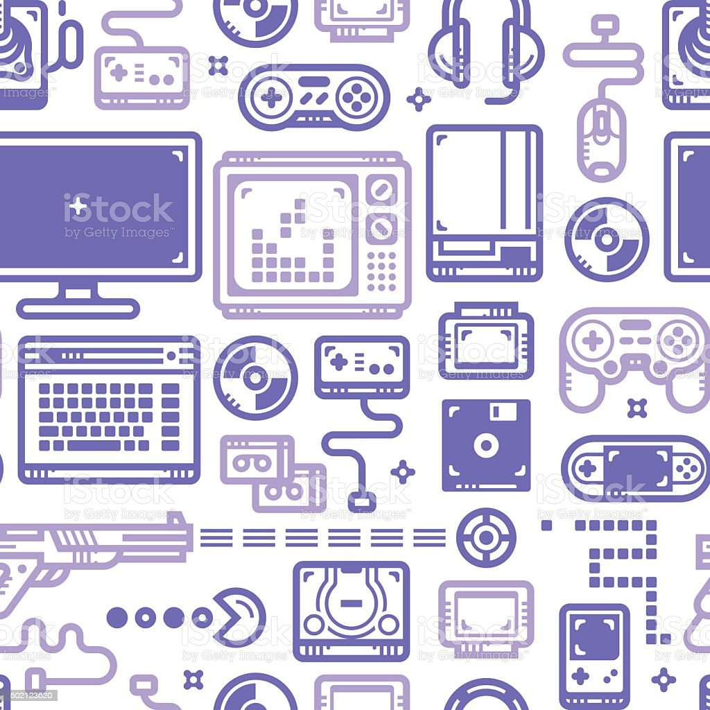 Oldschool Gaming Pattern vector art illustration
