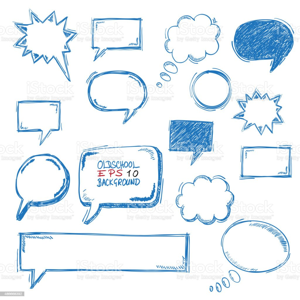 Oldschool Speech Bubbles vector art illustration
