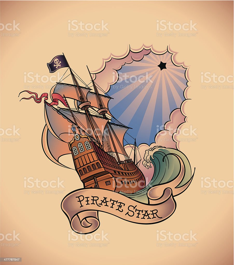 Old-school tattoo - Pirate Star royalty-free stock vector art