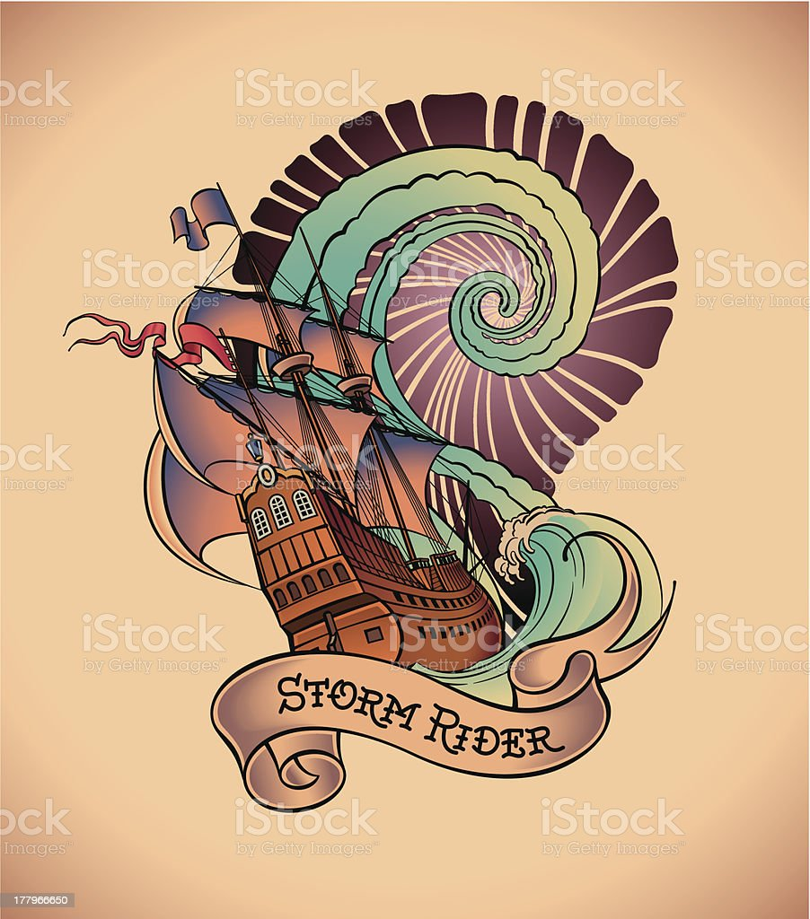 Old-school tattoo - Storm Rider royalty-free stock vector art