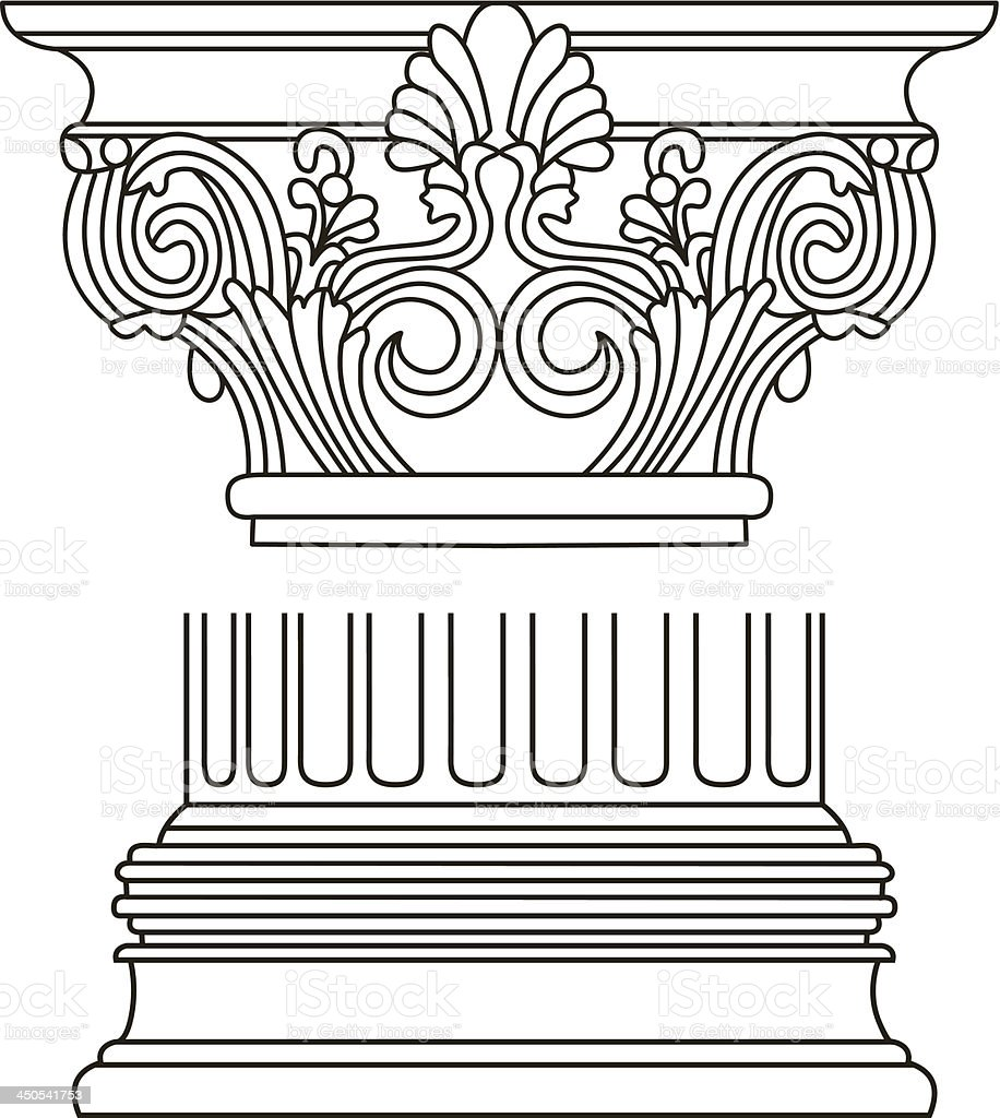 old-style greece column. vector illustration royalty-free stock vector art