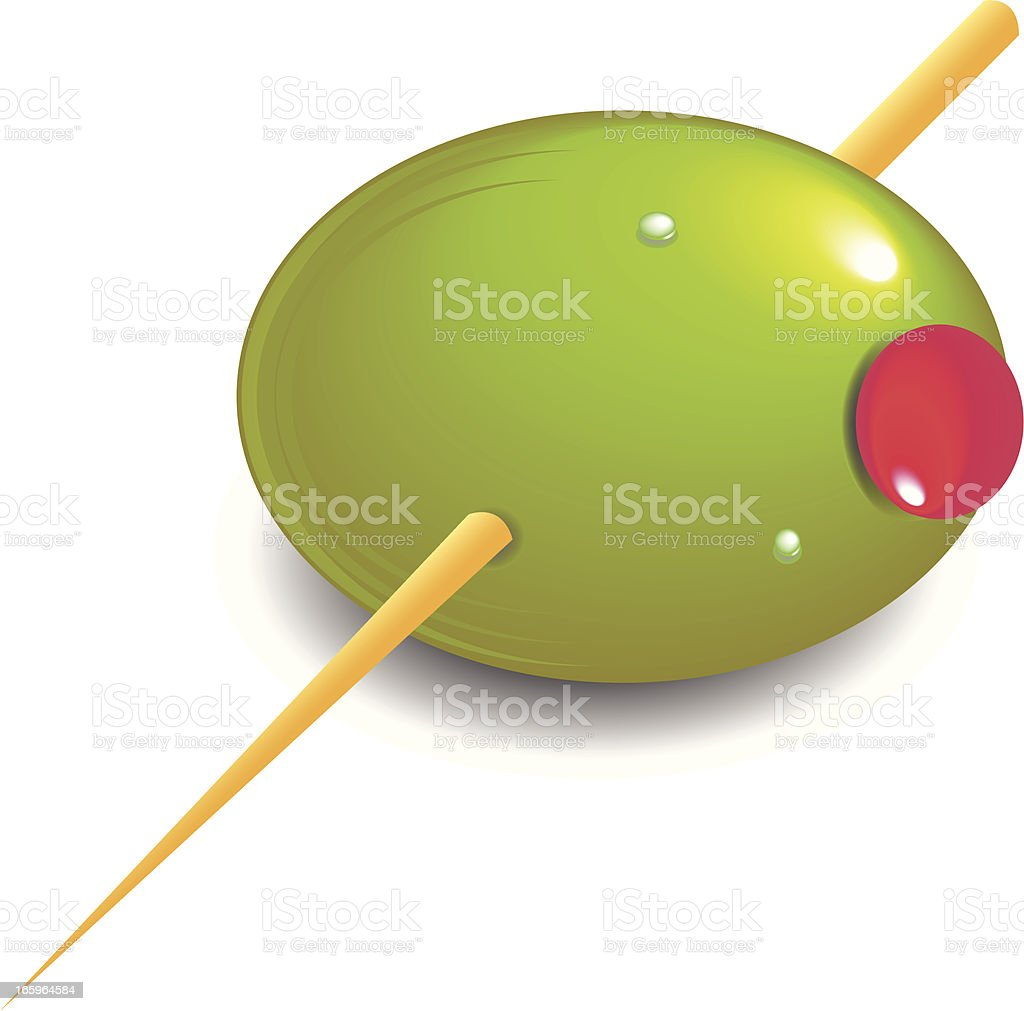 Olive and Toothpick vector art illustration