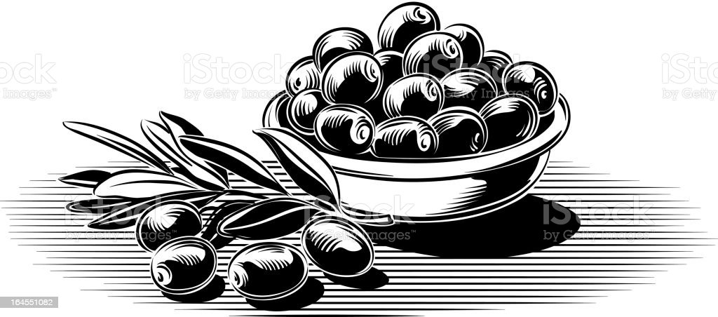 olive branch and saucer with olives royalty-free stock vector art
