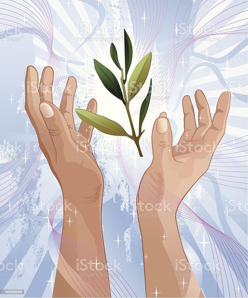 Olive Branch Between Praising Hands Vector royalty-free stock vector art