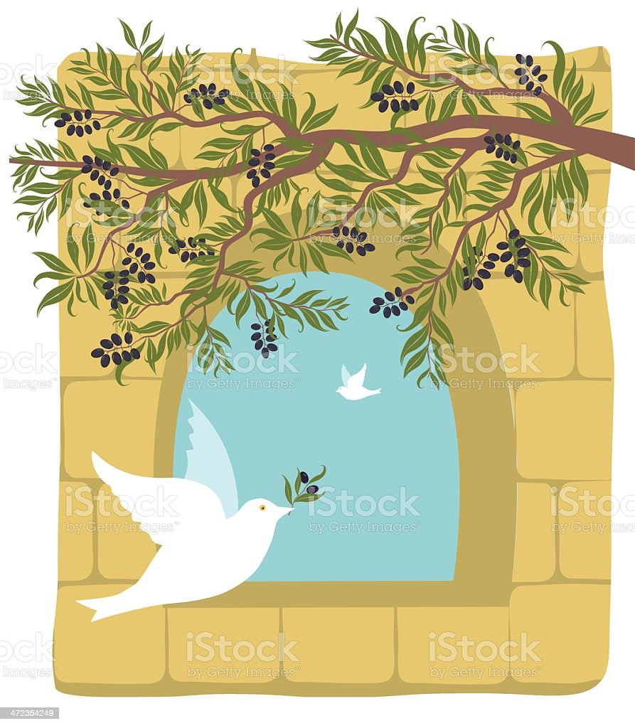 Olive Branch, Dove On Old Stone Wall Background royalty-free stock vector art