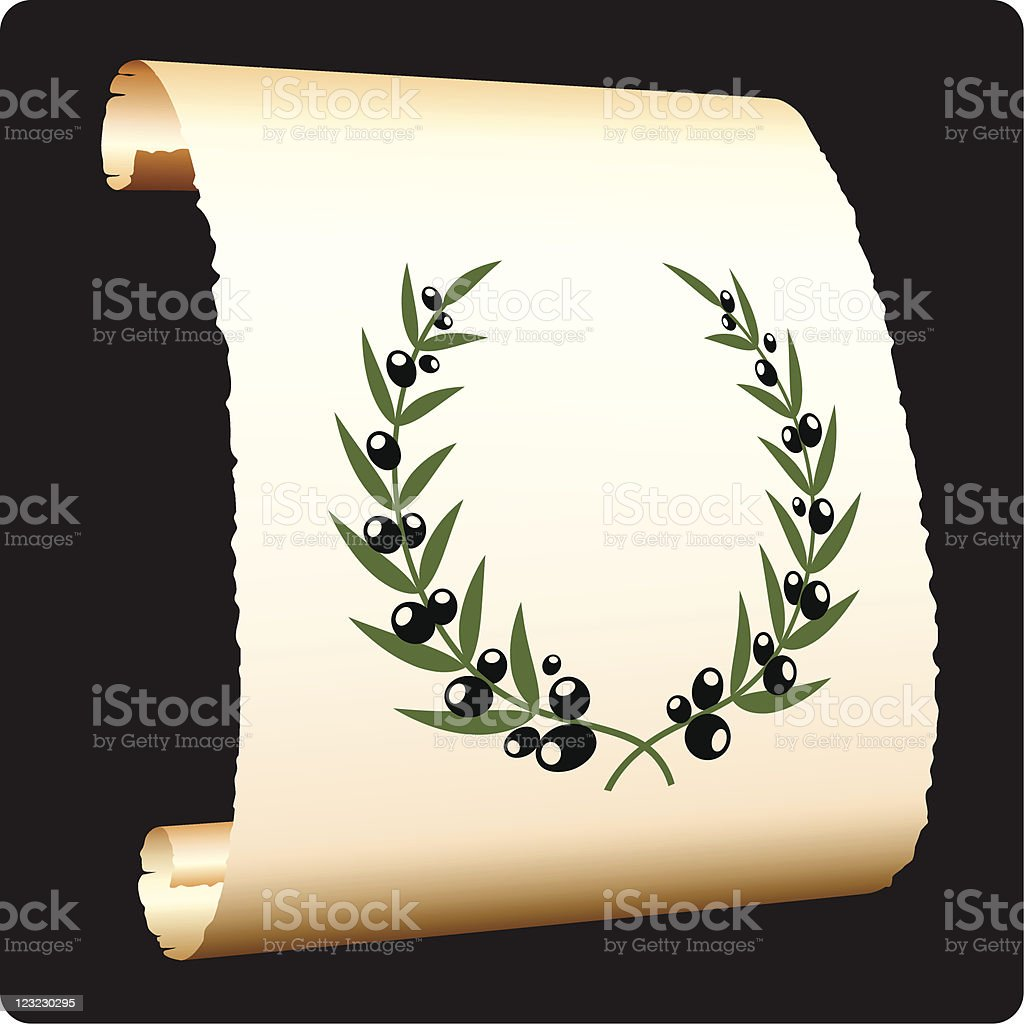 Olive branch laurel on paper scroll royalty-free stock vector art