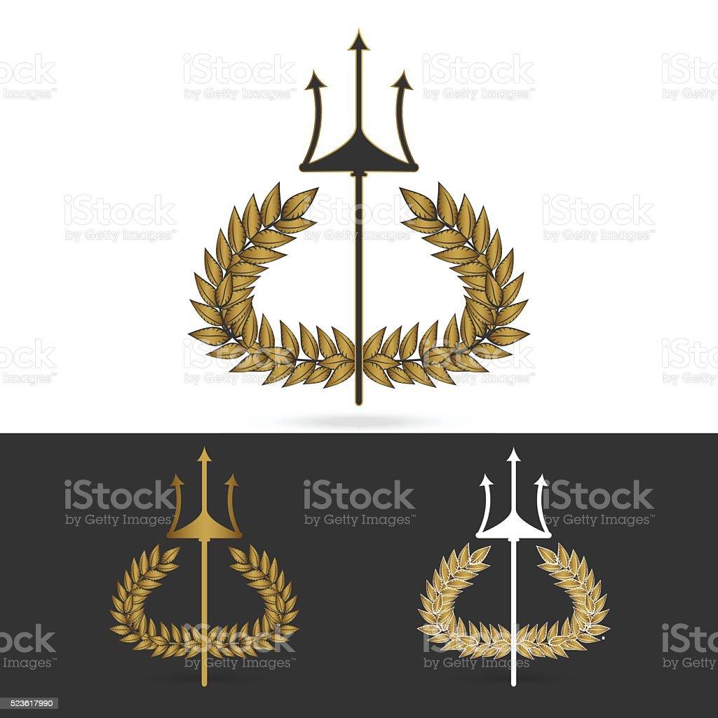 olive branch with  trident symbol of greek god poseidon vector art illustration