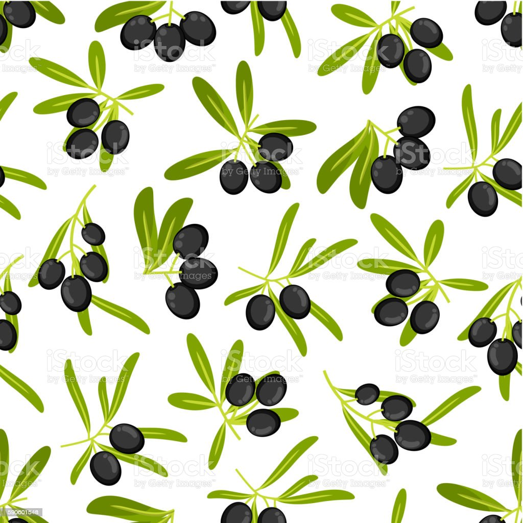 Olive branches seamless pattern background vector art illustration