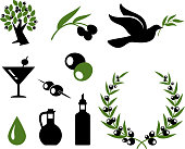 olive collection black and white royalty free vector icon set