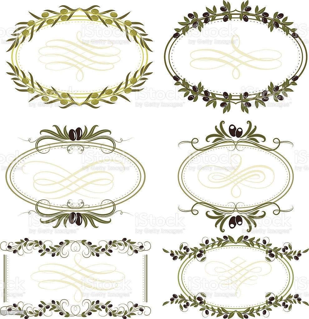 olive frames vector art illustration