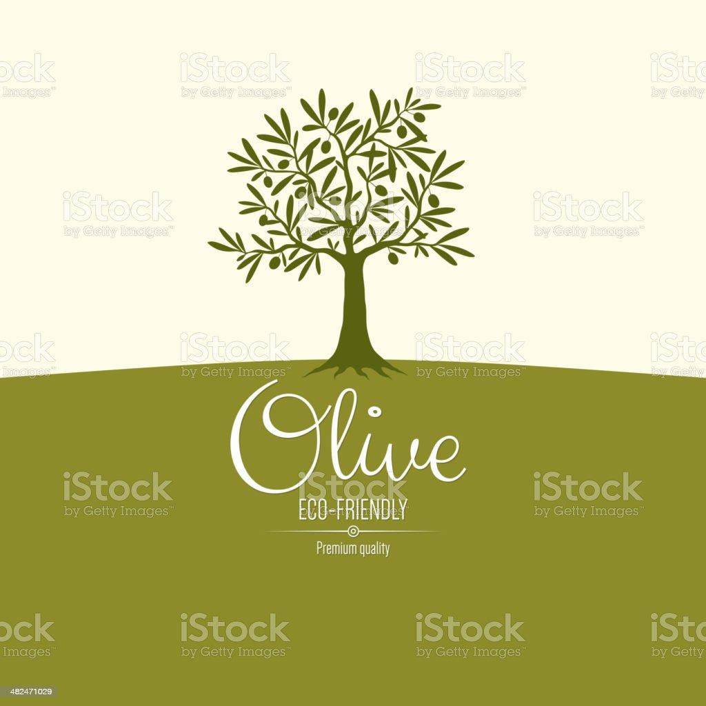 Olive label design vector art illustration