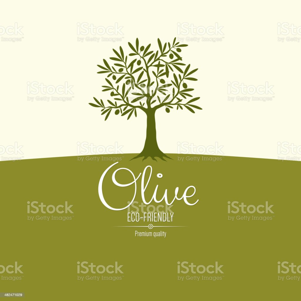 Olive label design vector art illustration