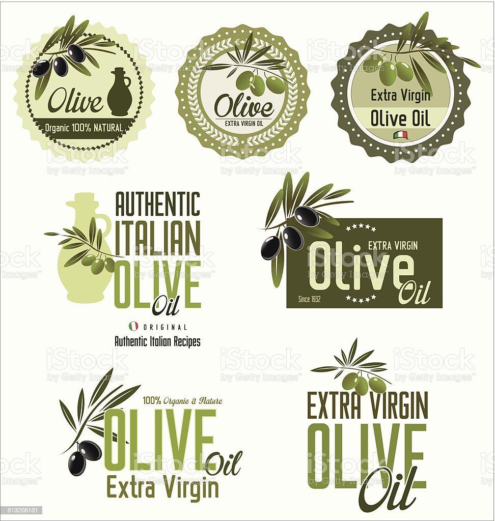 Olive labels set vector art illustration