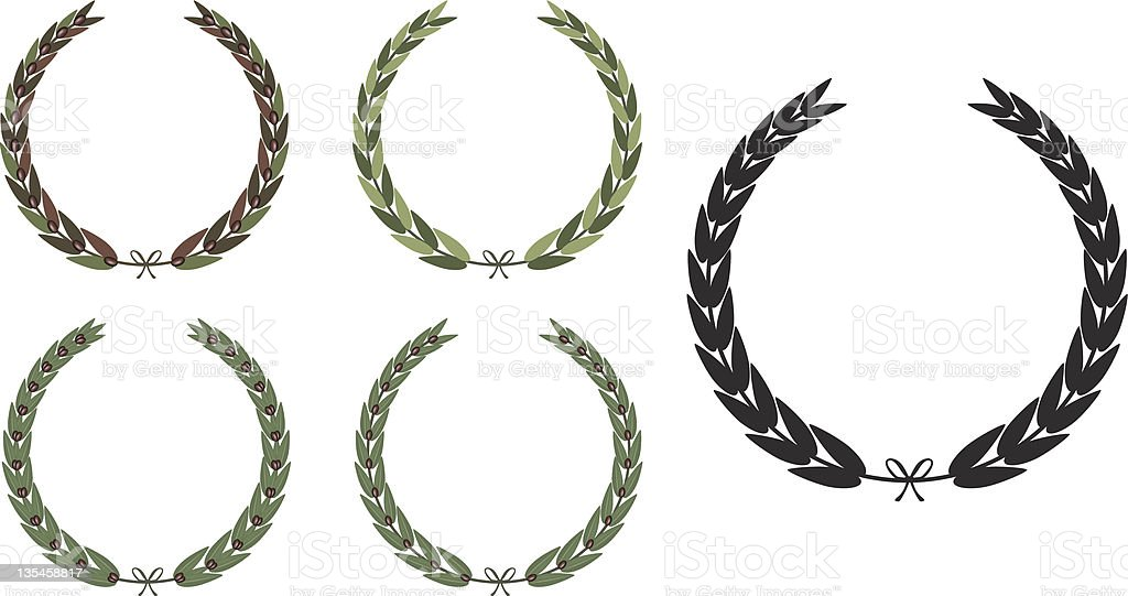 Olive Laurel Wreath royalty-free stock vector art