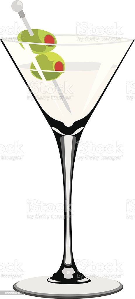 Olive Martini Cocktail royalty-free stock vector art