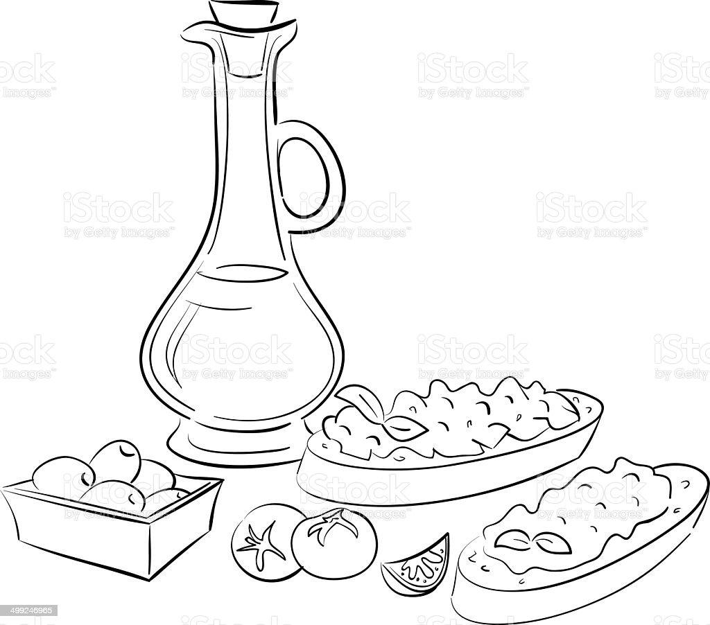 olive oil and bruschetta vector art illustration