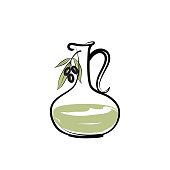 Olive oil bottle. Olives branch over white background