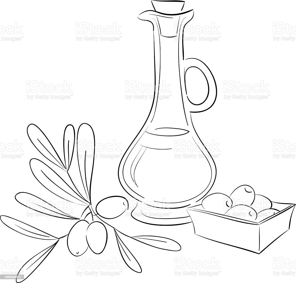 Olive Oil Bottle stock vector art 498899627 | iStock