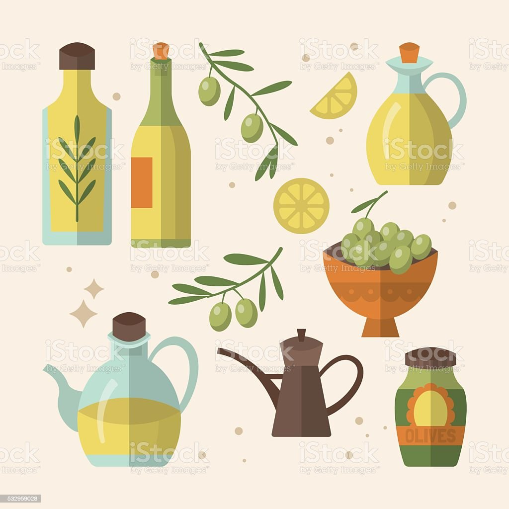 Olive oil bottles flat icon design. Vector illustration vector art illustration