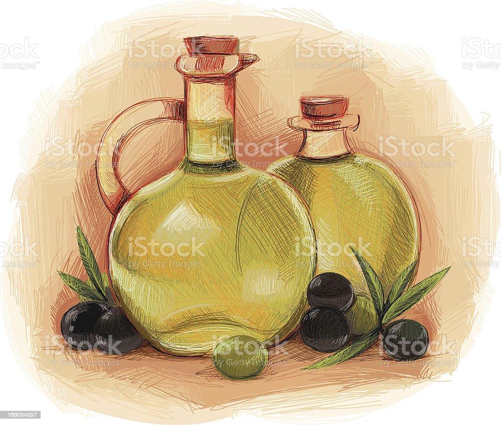 olive oil bottles royalty-free stock vector art