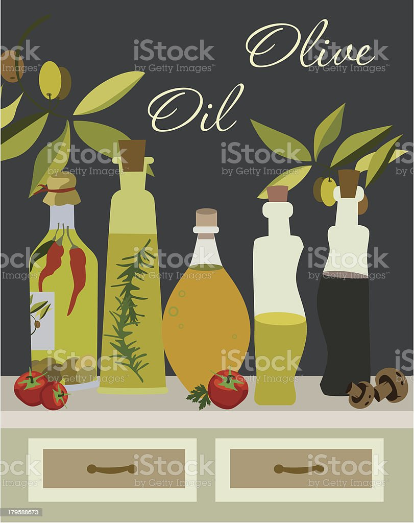 Olive Oil card royalty-free stock vector art