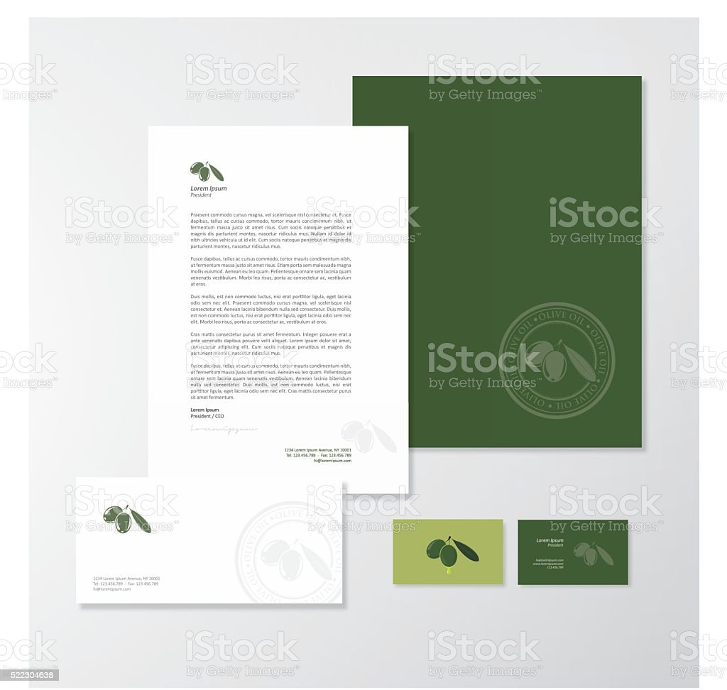 Olive oil company branding design vector art illustration