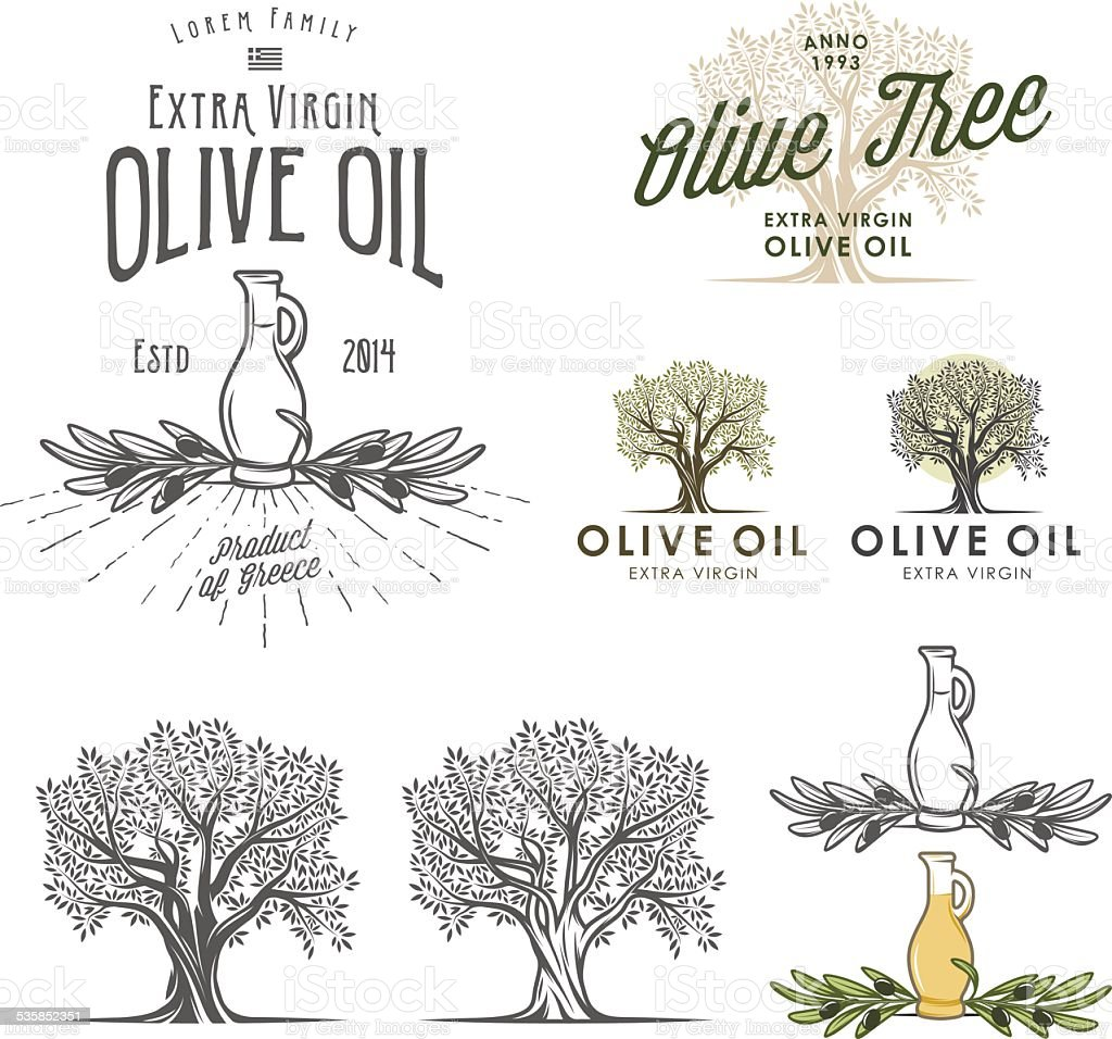 Olive oil labels and design elements vector art illustration