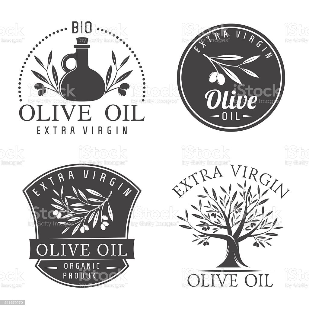 Olive oil labels vector art illustration