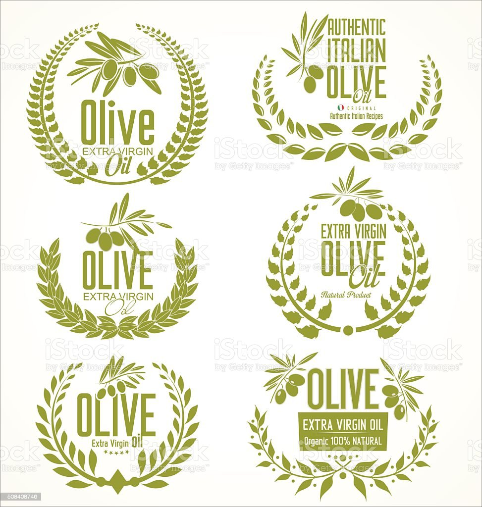 Olive oil laurel wreath design elements vector art illustration