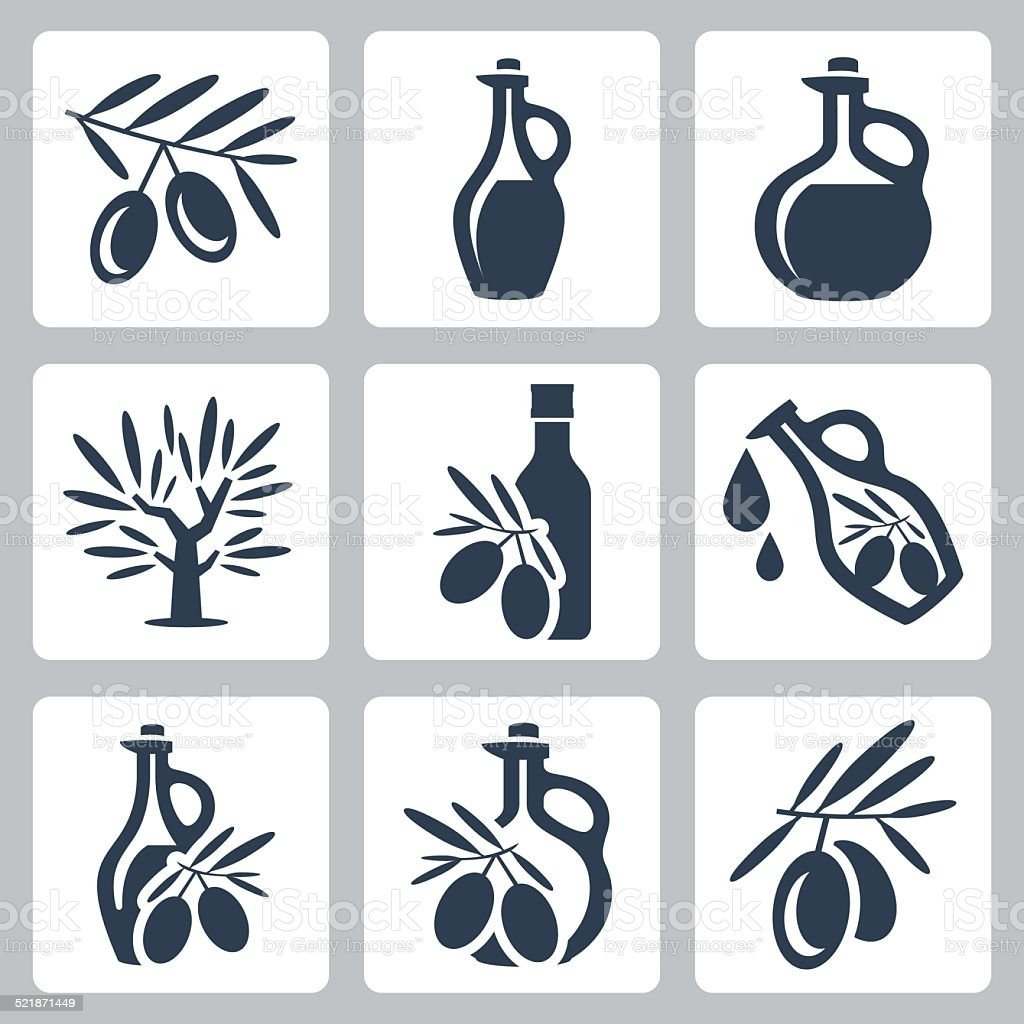 Olive oil related vector icons set vector art illustration