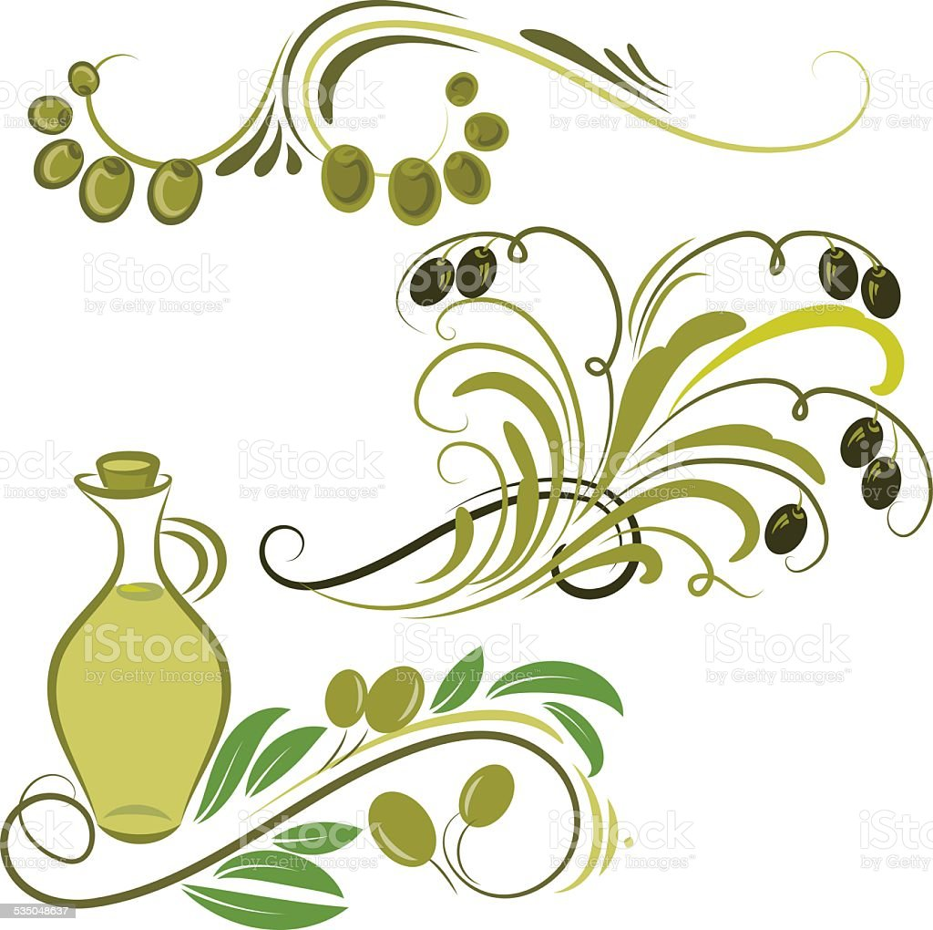 olive ornaments vector art illustration