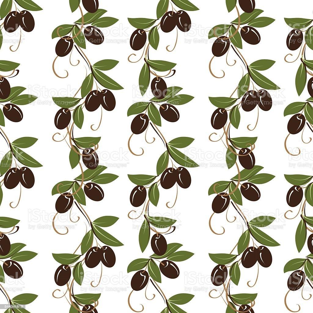 Olive seamless pattern vector art illustration