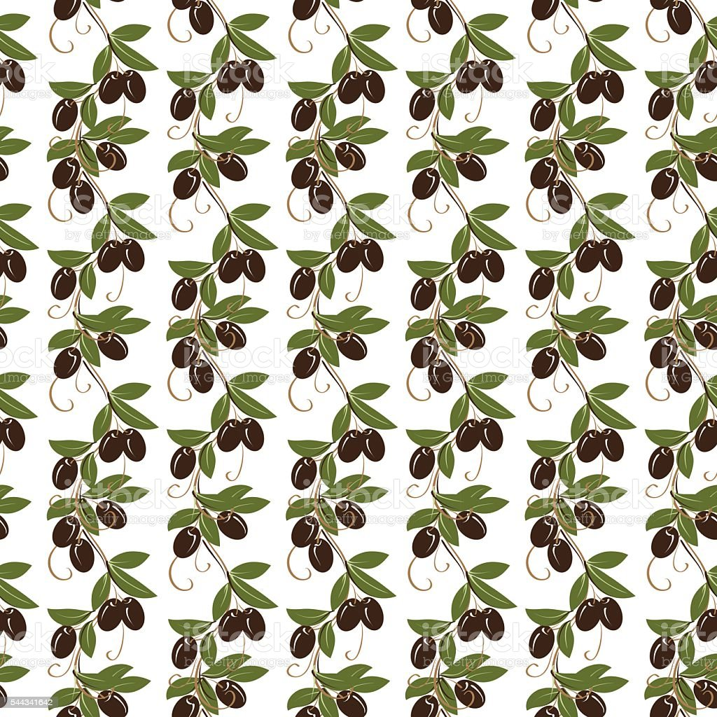 Olive seamless pattern vector art illustration
