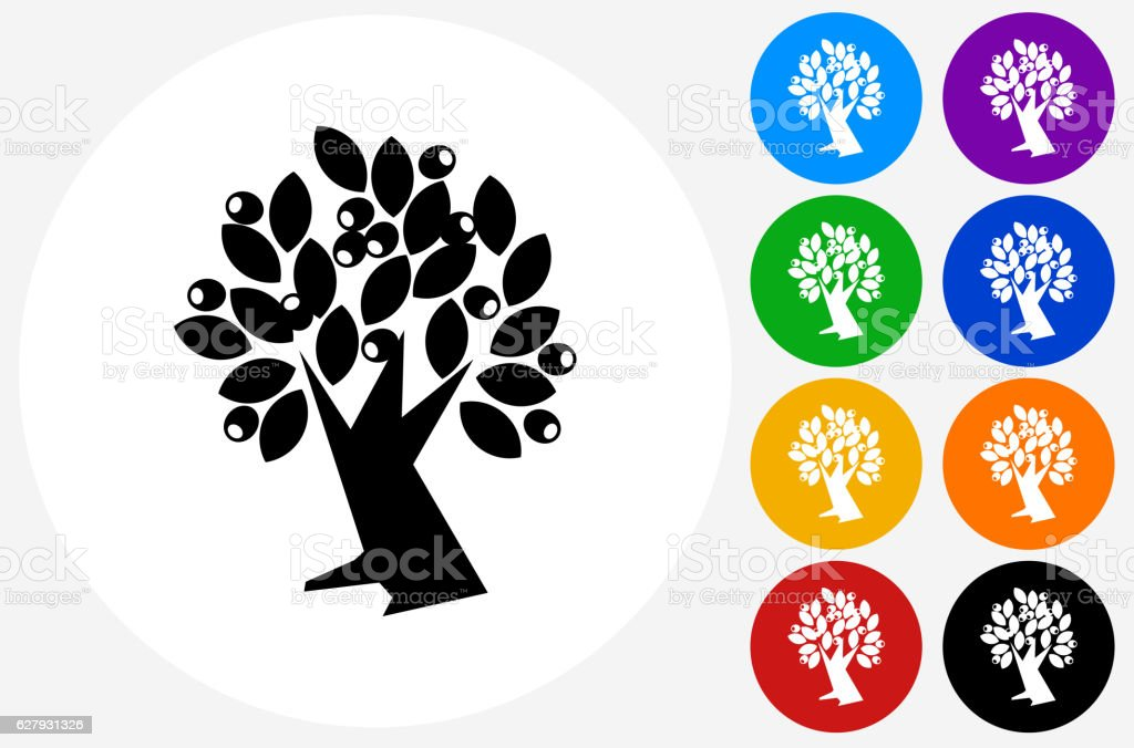Olive Tree Icon on Flat Color Circle Buttons vector art illustration