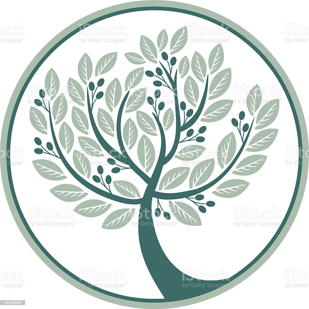 Olive tree in a circle vector art illustration
