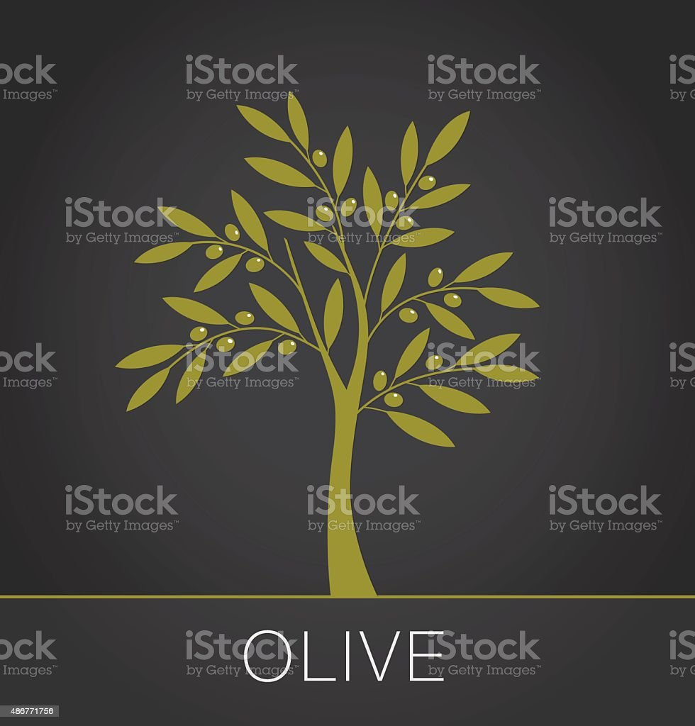 Olive tree label on dark background. Vector illustration vector art illustration