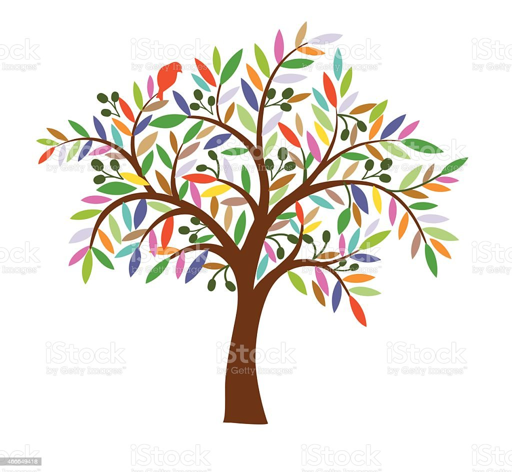 Olive tree . vector art illustration