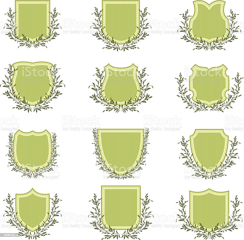 Olive Wreath On Shields royalty-free stock vector art