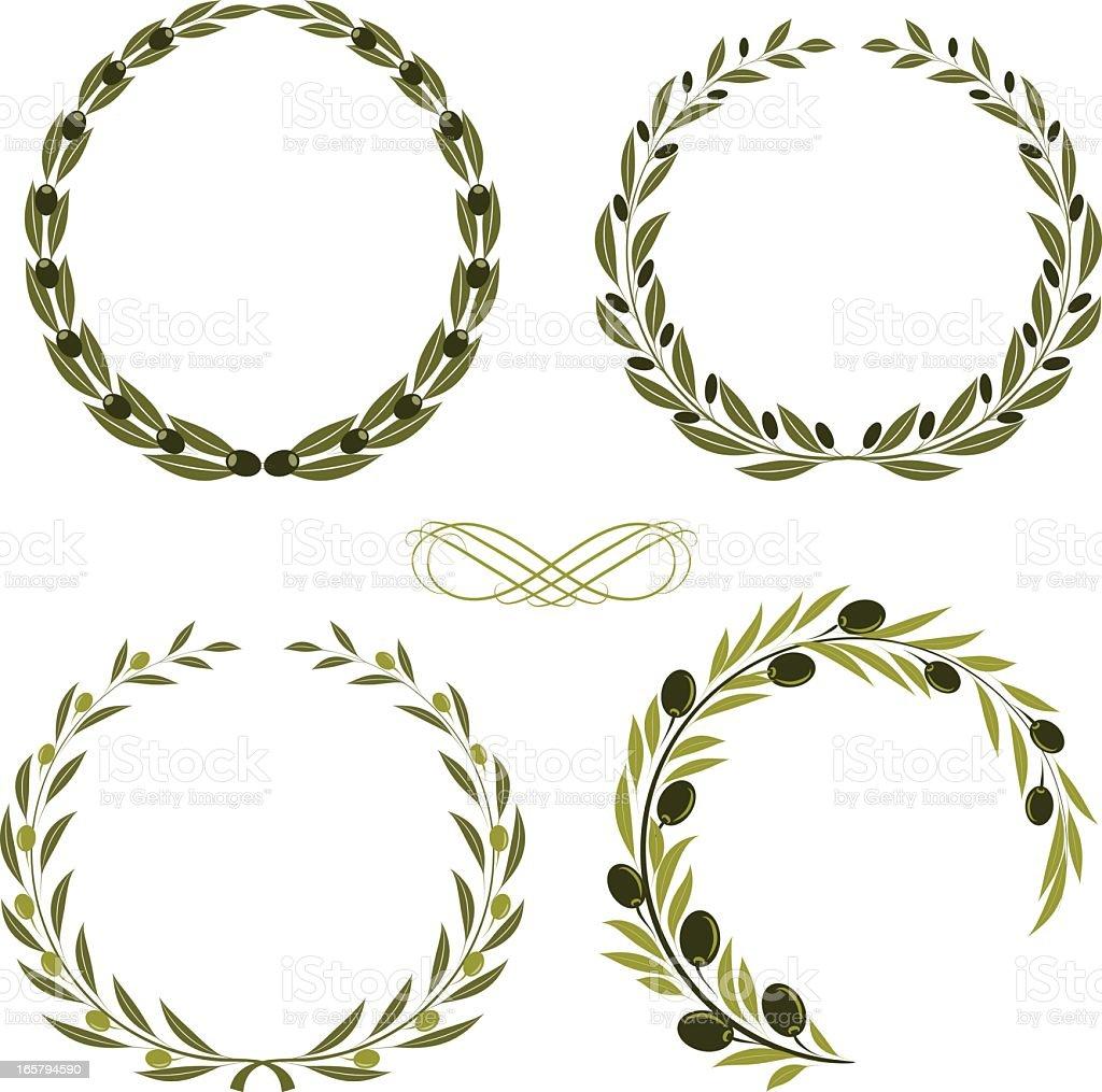 olive wreaths vector art illustration