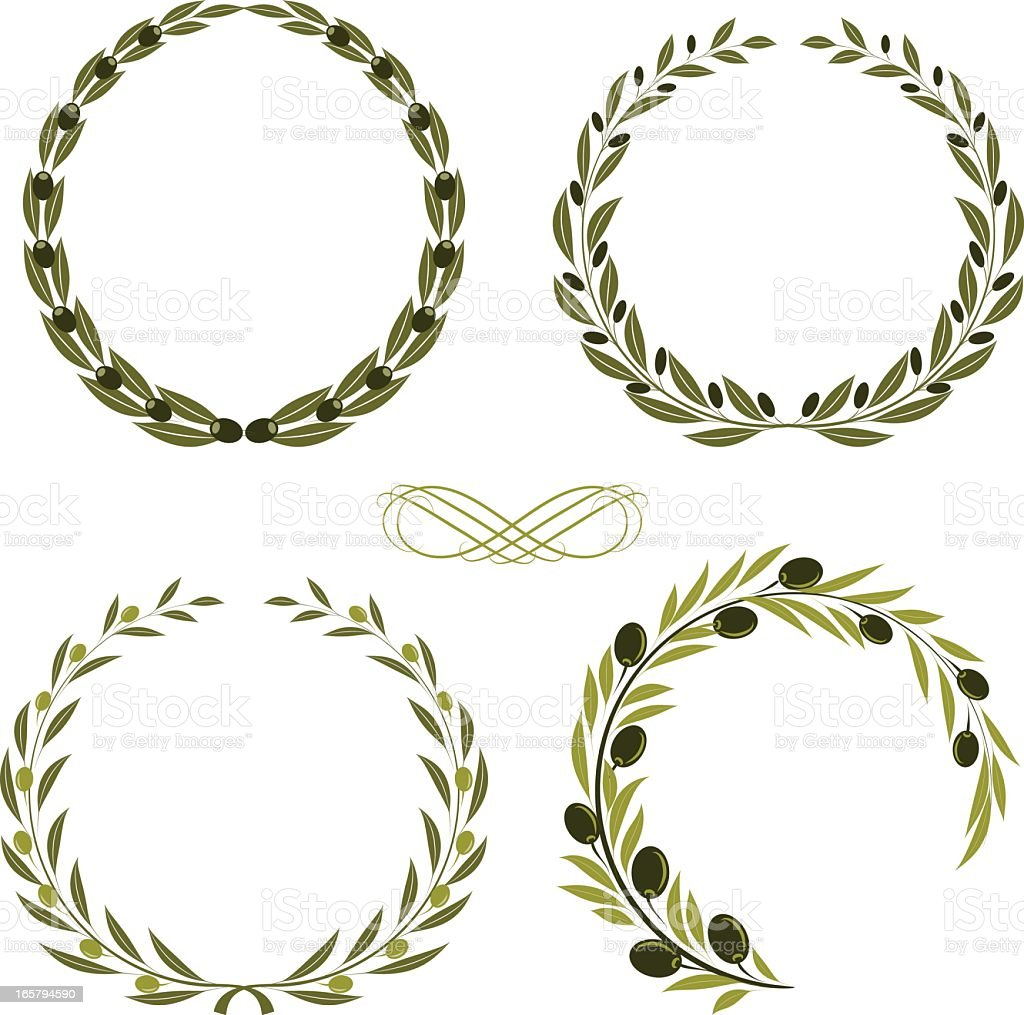 olive wreaths vector art illustration