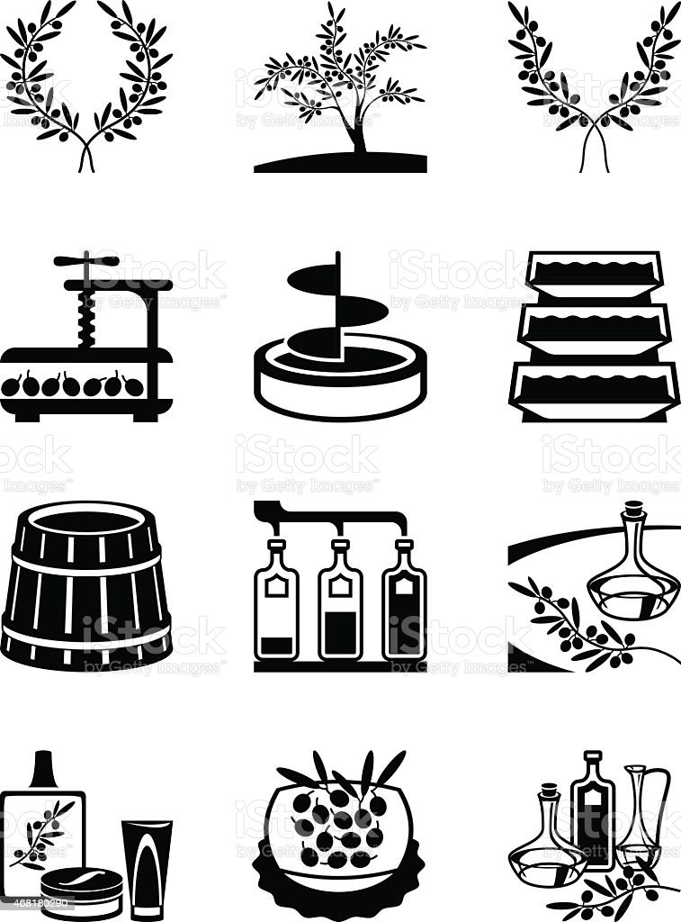 Olives and production of olive oil vector art illustration
