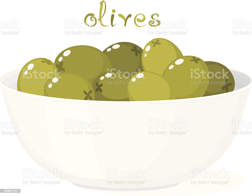 Olives In Bowl vector art illustration
