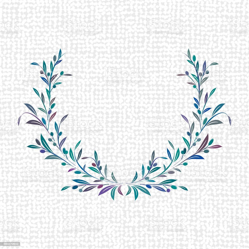 Olives Wreaths and Ornaments vector art illustration